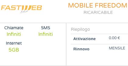 Fastweb Mobile Freedom: l'offerta ricaricabile a 19 euro al mese