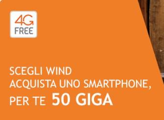 Wind Promo 50 Giga: 50GB gratis per 2 anni con smartphone WIND