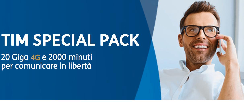 1000 minuti e 20 GB per 6 mesi a 49 euro: TIM Special Pack