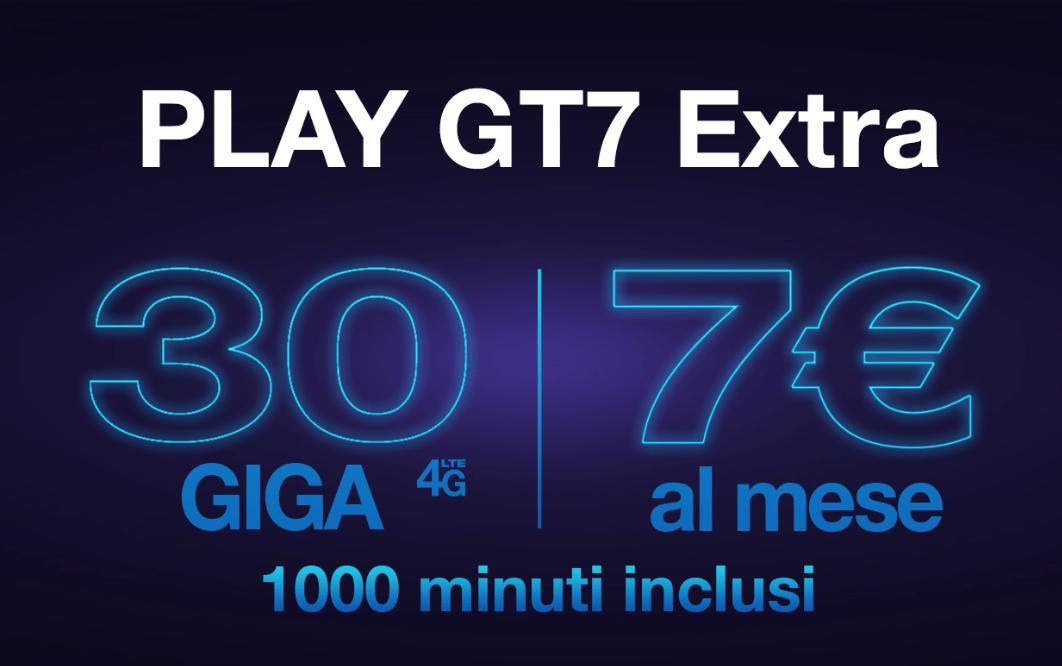 Offerta Tre Play GT7 Extra: 1000 minuti e 30 GB a 7 euro al mese