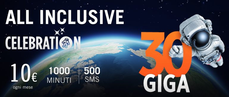Wind All Inclusive Celebration: 1000 minuti, 500 sms e 30 GB a 10€ al mese