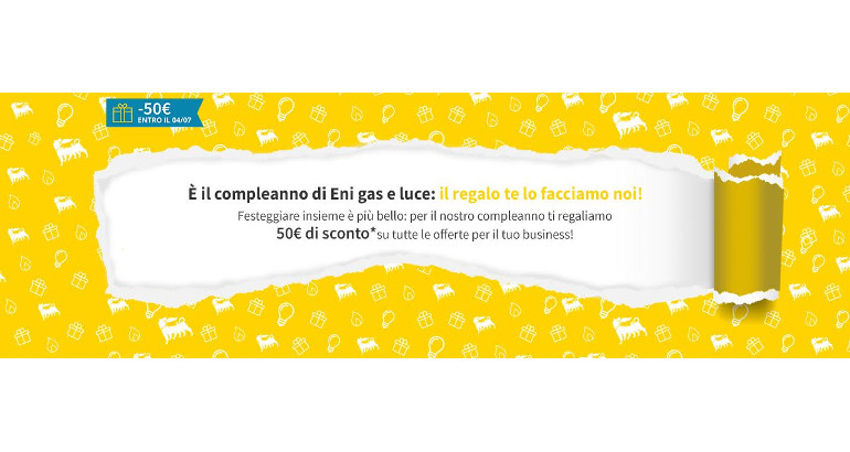 Eni gas e luce: fino a 60€ di sconto per festeggiare, entro il 04/07