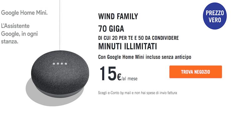 Offerta Wind Family: 70 GB e minuti illimitati a partire da 15 euro al mese