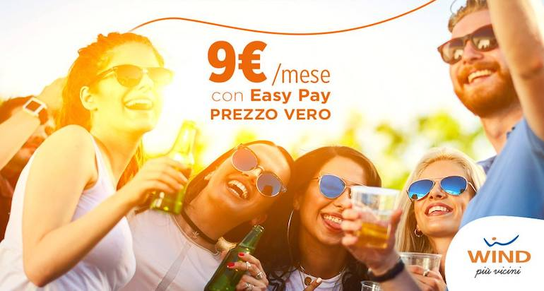 Wind All Inclusive Young Easy Pay: minuti illimitati, 100 sms, 20 GB a 9€