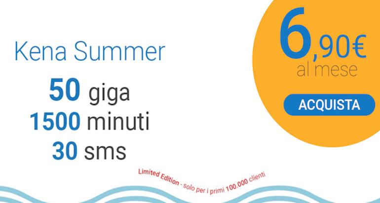 Offerta Kena Summer: 1500 minuti, 50 sms e 50 GB a 6,90€ al mese