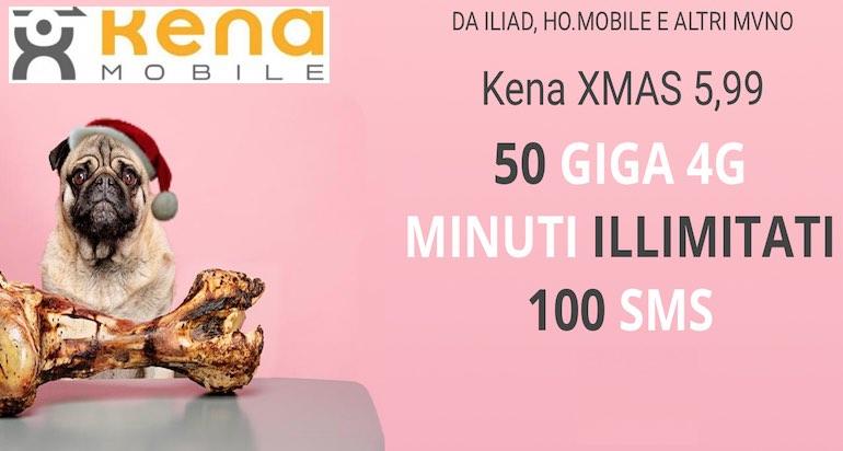 Arriva Kena XMAS: minuti illimitati, 100 sms e 50 GB a 5,99 euro al mese