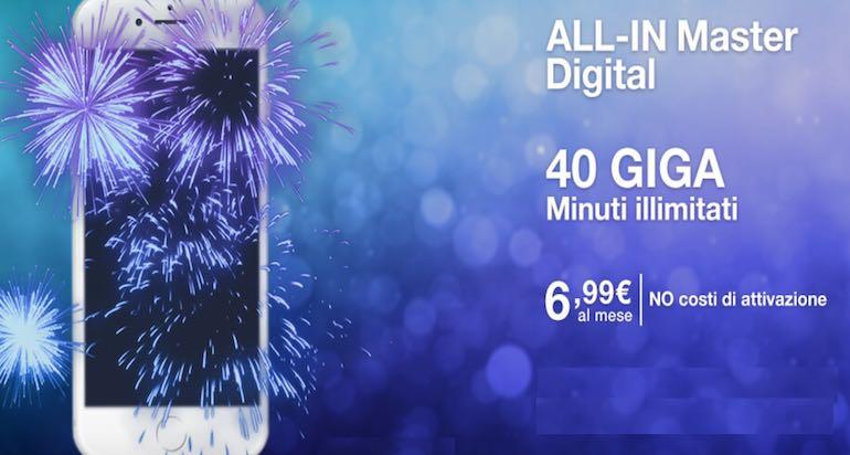 ALL-In Master Digital 3 disponibile: minuti illimitati, 40 GB a 6,99€