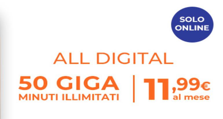 Wind offre chiamate illimitate e 50 GB a 12€ al mese con All Digital