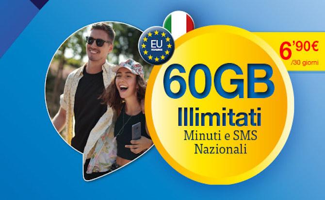 Offerta Lycamobile: minuti, sms illimitati e 60 GB a meno di 7€ al mese