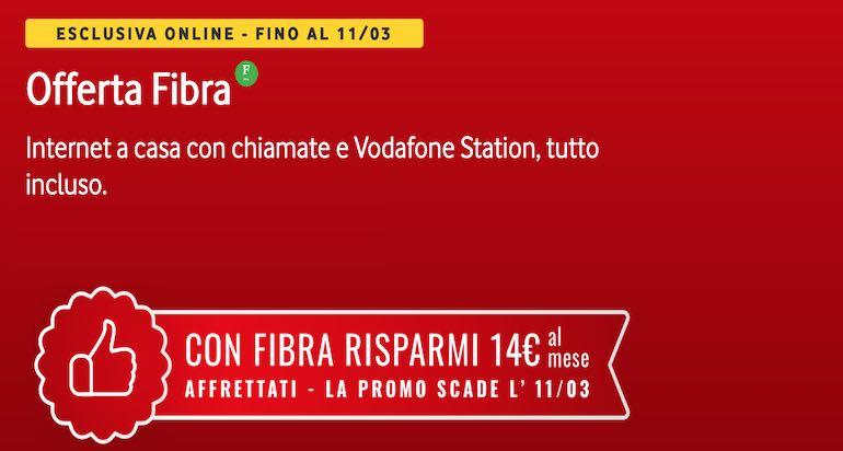 Fibra Vodafone scontata e con extra sconto di 50€ fino al 2 aprile
