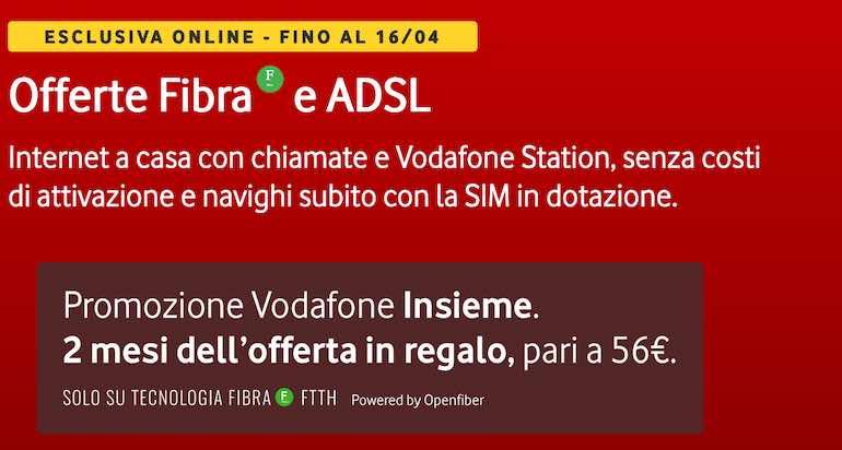Fibra Vodafone con 2 mesi in regalo e canone scontato fino al 16 aprile