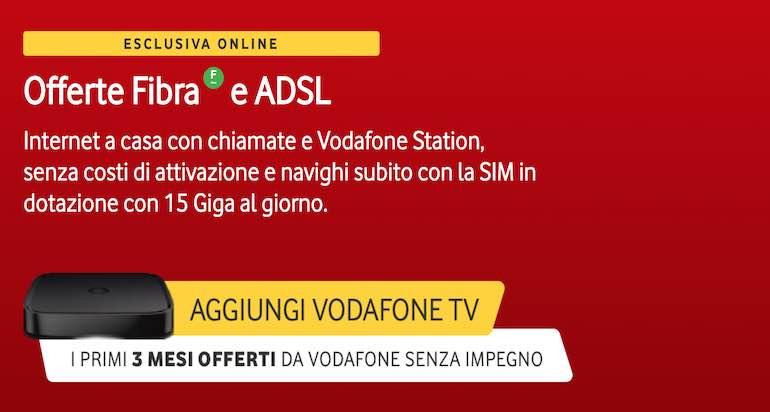 Promo Vodafone casa con 3 mesi gratis di Vodafone TV e canone scontato