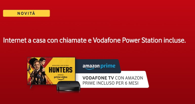 Vodafone regala Vodafone TV, cinema e Amazon Prime ai nuovi clienti Fibra